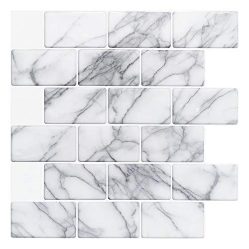Art3d 10-Sheet Peel and Stick Backsplash Tile for Kitchen (12'x12', Grey Marble)