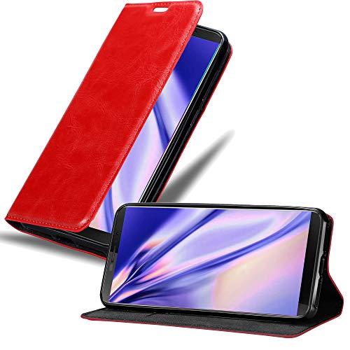 Cadorabo Hülle für Cubot J3 in Apfel ROT - Handyhülle mit Magnetverschluss, Standfunktion und Kartenfach - Case Cover Schutzhülle Etui Tasche Book Klapp Style
