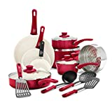 GreenLife Soft Grip Healthy Ceramic Nonstick, Cookware Pots and Pans Set, 16 Piece, Red