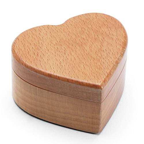 JINDAO Caja de almacenamiento de madera maciza para anillos de boda, caja de compromiso con diamantes de compromiso, colección de joyas retro para mujer (color: A)