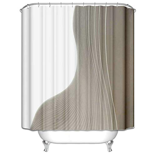 Ukilook Shower Curtain With Hooks For Bathroom, Geometric Print Shower Curtain, Washable Shower Curtain, Washable, Bathroom Curtain Hotel Quality, Home Bathroom Decorations Beige 60X72 Inch