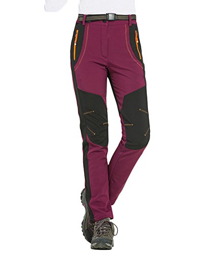 Couple Homme Femme Pantalon Épaississement Coupe-Vent Imperméable Outdoor Sport Camping Randonnée Trekking Pantalon Vin Rouge Femmes S