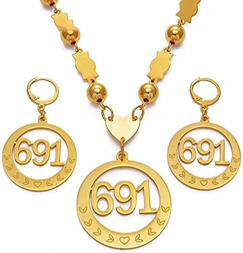 YZXYZH Collar Micronesia, Colgante Grande con Cuentas, Collares, Conjuntos de Pendientes para Mujer, Cadenas de Bolas Redondas, 691 Regalos de joyería