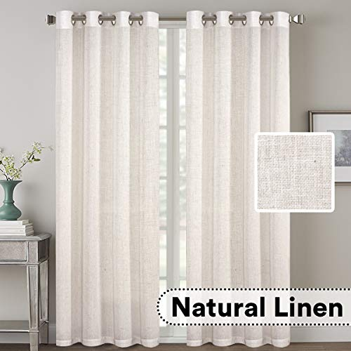 H.VERSAILTEX 2 Pack Ultra Luxurious High Woven Linen Elegant Curtains Grommet Curtain Panels Light Reducing Privacy Panels Drapes, Nickel Grommet, Extra Long 52x108-Inch, Natural