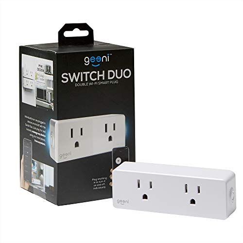 Geeni Switch Duo Double Smart Plug, White, 2 Outlets – No Hub Works with Amazon Alexa, Google Assistant & Microsoft Cortana, Requires 2.4 GHz Wi-Fi