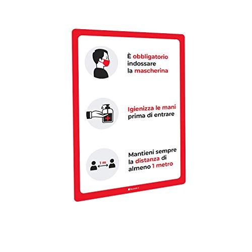 Adesivi e Cartelli Covid-19 Segnaletica con regole di sicurezza e comportamento, bolle - Adesivo PVC o Pannello Forex (Adesivo PVC lucido, A4 tipologia 1)