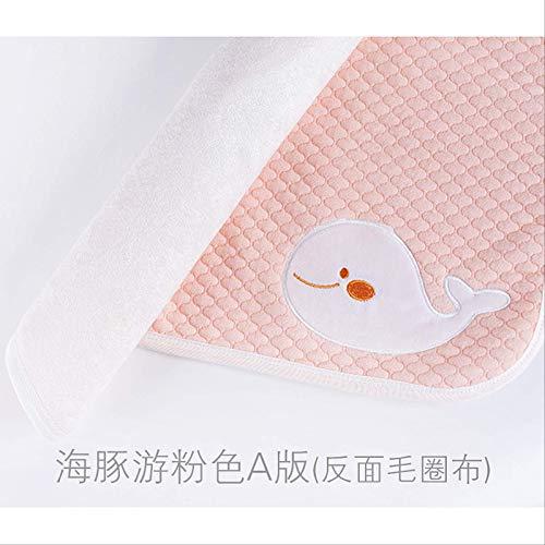 Pannolini Per Bambini Animati Impermeabili Lavabili Neonato Pannolini Di Cotone Pad Baby Pannolini Per Adulti Tappeti Per La Cura. 60 * 120 cm Rosa delfino (fibra di bambù inversa)