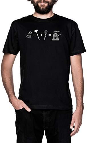 Criba Vibradora + Émbolo + Batidor = ¡Exterminar! Negro Camiseta Hombre Manga Corta Black T-Shirt Men's