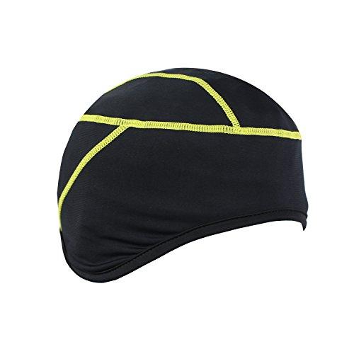 Tofern Skull Cap Fahrradhelm Mütze Helmmütze atmungsaktiv elastisch mit Ohrenschutz, Gelb