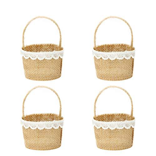 Happyyami 4pcs Burlap Flower Basket Flower Girl Basket for Vintage Wedding Christmas Decoration