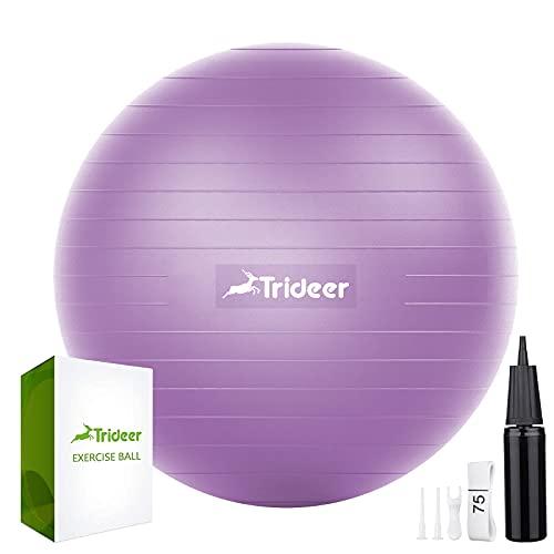 Trideer バランスボール 45/55/65/75cm 耐荷重300KG アンチバースト 滑り止め フットポンプ付き ヨガボール ピラティスボール (M(48〜55 cm、高さ150-165cm に適応), パープル)