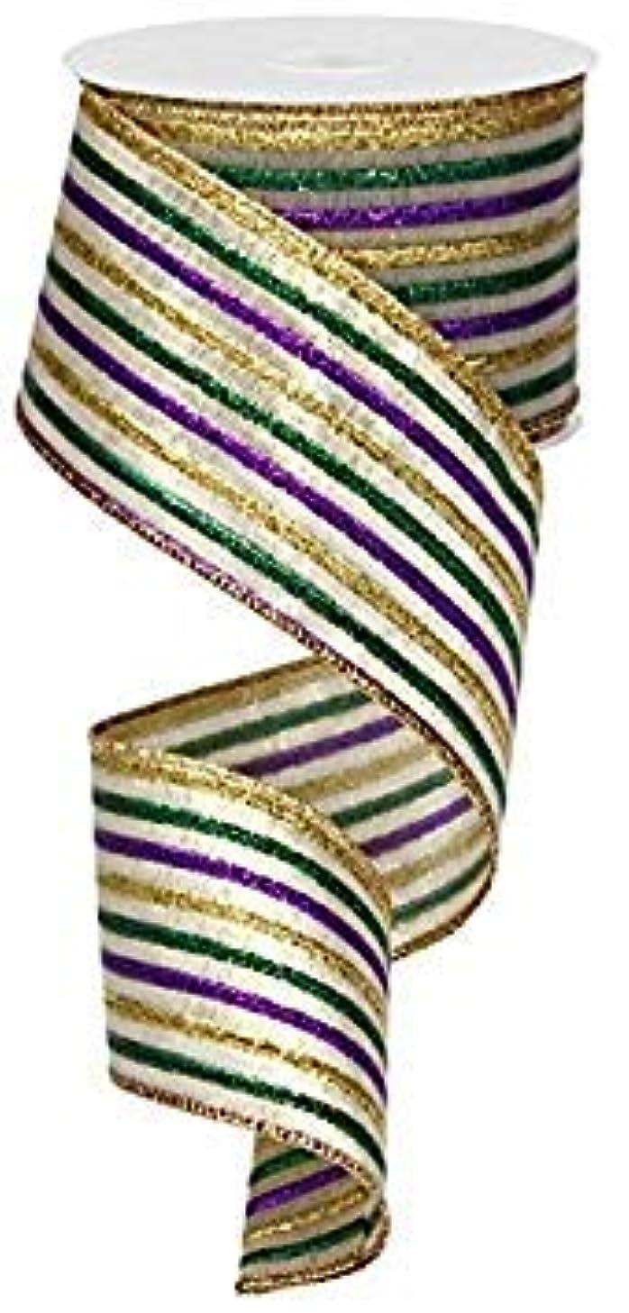 Metallic Stripe Wired Edge Ribbon, 10 Yards (Mardi Gras Thin Stripe)