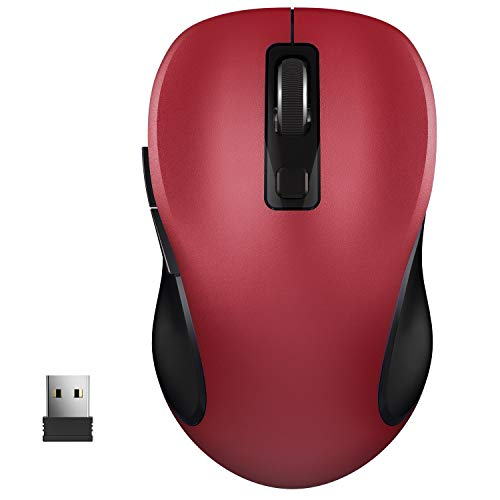 WisFox 2.4G Wireless Mouse for Laptop, Ergonomic Computer Mouse with USB Receiver and 3 Adjustable Levels, 6 Button Cordless Mouse Wireless Mice for Windows Mac PC Notebook (Red)