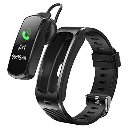LTLJX Smartwatch 2-in-1 Bluetooth-Kopfhörer, Wasserdicht Herzfrequenz-Fitness-Tracker, Blutdruckmessgerät für Männer, Frauen, Mädchen, kompatibel mit den Meisten Smartphones,Black1