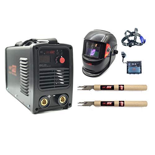 HERPRO Soldador Inverter MMA 200, 200 amperios al 60%, Hot Start, Arc Force, Anti Stick, Valido para Generador, Hasta Electrodo de 4.00mm. PANTALLA DE SOLDAR AUTOMATICA Y ELECTRODOS INCLUIDOS
