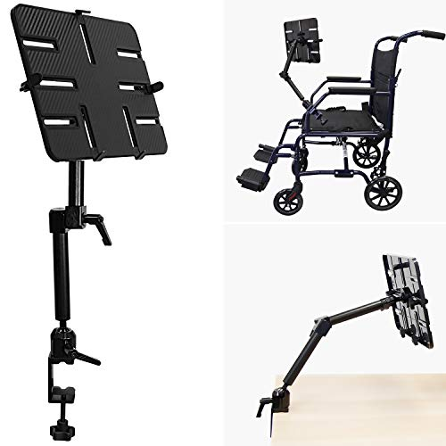 Mount-It! Tablet Pole Mount | Wheelchair Tablet Mount for iPad, Tablet or Phone | Universal Full Motion Tablet Holder for Mic Stand or Desk | C-Clamp Base | Fits Screen Sizes from 6 to 14 Inches
