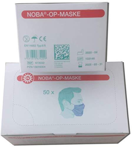50 x NOBA® - OP Masken Nobamed EN 14683 Typ II R blau mit Schlaufe