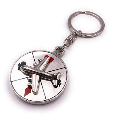 H-Customs Roulette Glücksspiel Flugzeug Flieger rot schwarz Karten Silber Schlüsselanhänger Anhänger