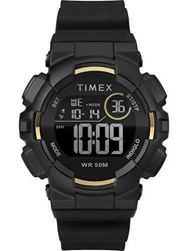 Timex Unisex TW5M23600 DGTL Mako Digital 44mm Black/Gold-Tone Silicone Strap Watch