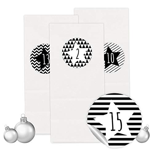 PaPIerDraCHeN Adventskalender Set - 24 Weiße Geschenktüten mit 24 Schwarz weißen Zahlenaufklebern - zum Selbermachen - Adventskalender zum Befüllen - Mini Set 30 - von
