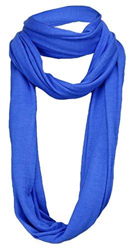 TigerTie Loop sjaal in blauw effen kleur - maat 180 x 40 cm - ronde sjaal