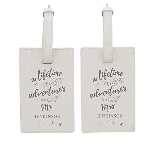 Personalised Cream Luggage Tag - Mr & Mrs 'Lifetime of Adventures'