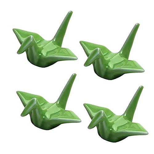 Moligh doll Gru nel Porcellana Bacchette di Riposo Set Cucchiaio Forchette Coltelli Stoviglie Portaoggetti Set di 4 Gru nel Porcellana Poggia (Verde)