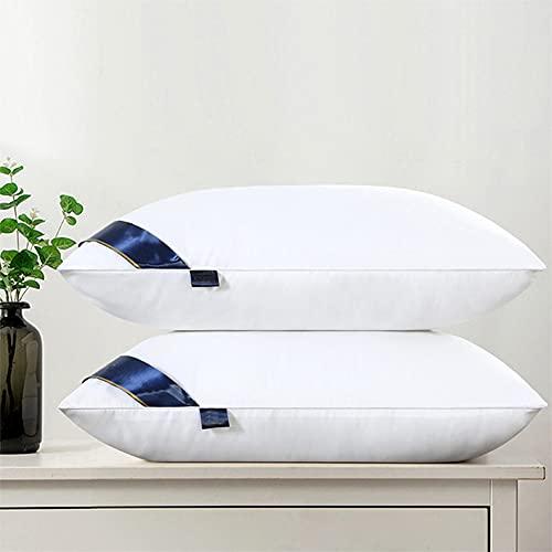 DUYH 2 Piezas Almohada Lavable de, Adecuada para el Hogar y el Hotel Almohada Individual para Proteger la Columna Cervical. 48×74 cm. (Blanco, Alto 850g)