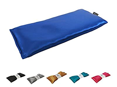 Unscented Eye Pillow - Migraine, Stress & Anxiety Relief - #1 Stress Relief Gifts - Made in USA,! (Sapphire - Ultra Silky Satin)