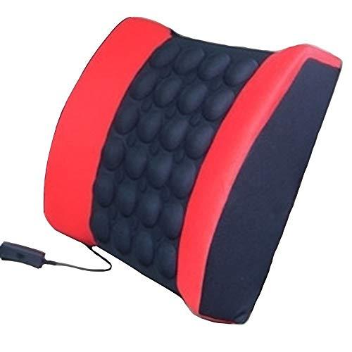 DC 12V Cojín Lumbar Coche Ortopedico Respaldo Lumbar Para Silla Oficina Apoyo Almohada Lumbar de Espuma Memoria Alivio de Dolor de Espalda (Rojo+Negro)