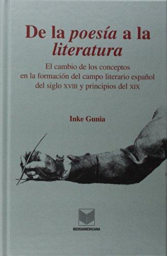 De la poesía a la literatura. El cambio de los conceptos en la formación del campo literario español sel siglo XVIII y principios del XIX. (La cuestión palpitante)