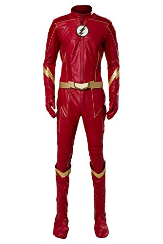 prettycos Cosplay di Film per Uomo Halloween Costume Barry Allen Abito Uniforme in Pelle Rossa Fancy Dress di Carnevale Cosplay,S