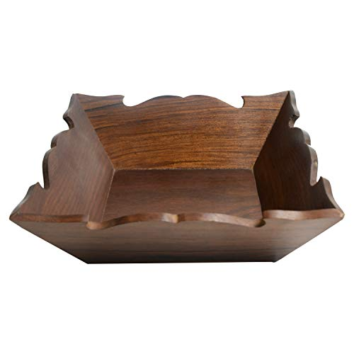 ARIJA Wooden Fruit Basket Holder - Square Shape with Wooden Carving Fruit Basket for Kitchen Counters - Perfect for Fruit, Vegetables, Snacks - Use for Home and Restaurant - Housewarming Gift Ideas
