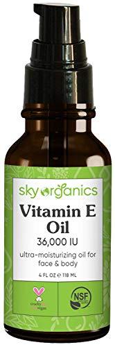 Vitamin E Oil 36,000 IU by Sky Organics (4oz) Certified Organic Vitamin E Oil, Moisturizing Treatment Oil with Jojoba & Rosehip for Scars & Stretch Marks, Cruelty-Free Face & Skin Serum