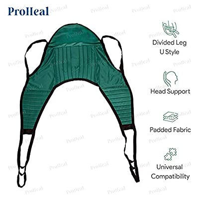 ProHeal Universal Padded Lift U Sling with Head Support - Polyester Divided Leg Slings for Patient Lifts - Compatible with Hoyer, Invacare, McKesson, Drive, Lumex, Medline, Joerns and More
