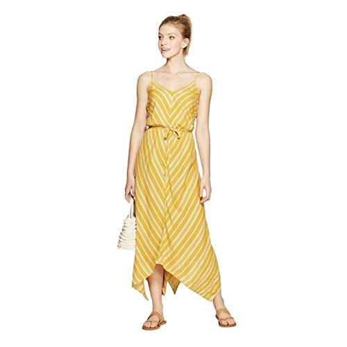 Xhilaration Women's Striped Sleeveless Strappy Handkerchief Hem Midi Dress Mustard Yellow Large