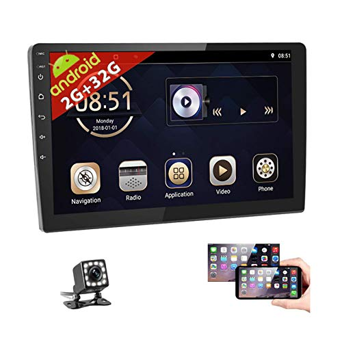 10 Inch Android Car Stereo Double Din 2G+32G Support GPS Navigation Split Screen in-Dash Car Radio with Bluetooth WiFi FM Dual USB Mirror Link 1080P HD Touchscreen Multimedia Player + Backup Camera