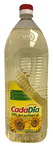 CadaDía 100% Pure Sunflower Oil ,First Cold Press, NON GMO, Kosher, Good for Frying, Baking, and Salads. 1.5 L (51 Fl Oz) (1.58 QT)