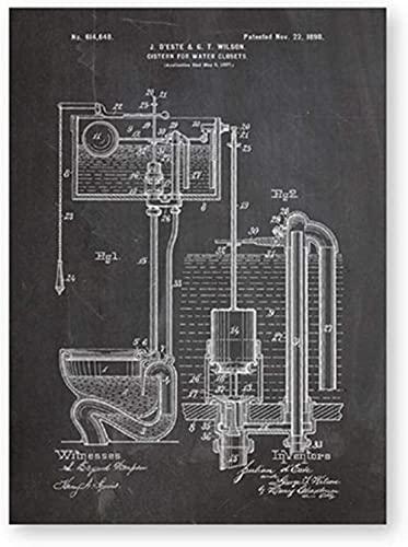 Inodoro Cisterna Patente Vintage Plano Cartel e impresión Baño Aseo Arte de la pared Lienzo Pintura Decoración Wc Sign Lavatorio Imágenes 40x60cm Sin marco