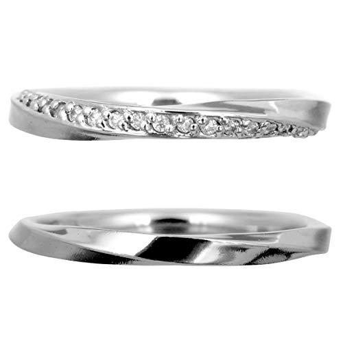 [ココカル]cococaru ペアリング 2本セット シルバー マリッジリング 結婚指輪 ダイヤモンド 日本製(レディースサイズ15号 メンズサイズ14号)