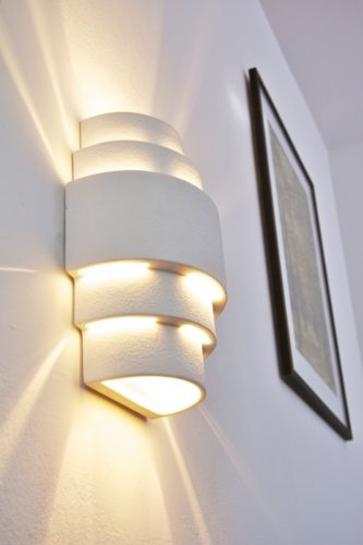 Wandleuchte Handan aus Keramik in weiß, Wandlampe mit Lichteffekt, 1 x E27-Fassung, max. 60 Watt, Innenwandleuchte mit handelsüblichen Farben bemalbar, geeignet für LED Leuchtmittel