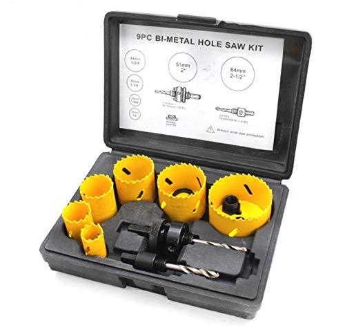 Juego de sierra de corona para fontaneros 9 pce Bi Metal 22 mm-64 mm HSS Kit de sierra perforadora