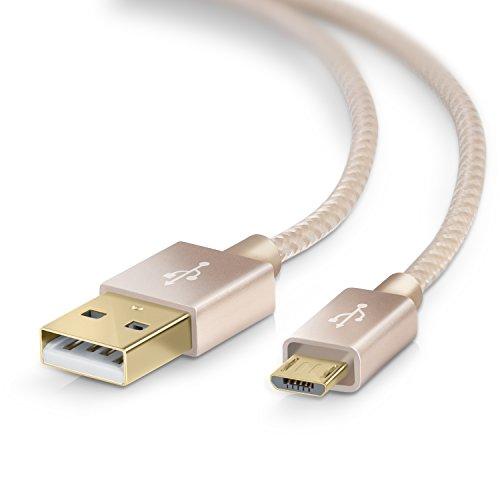 UpLink 2m Premium Cable MicroUSB a USB de Alta Velocidad | Nylon Trenzado | Cable Cargador y de Datos | Cable de Carga rápida | Contactos Recubiertos de Oro 24 k | Dorado
