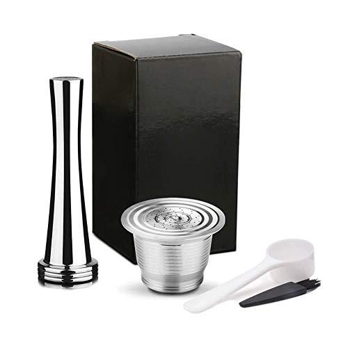 Zihuist Edelstahl Wiederverwendbare nachfüllbare Kaffeepad Filter mit Presse Tamper Coffeeware Set Kaffeefilter (Color : Filter with Tamper)