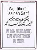 KMC Austria Design Cartel de chapa vintage Shabby Style como cuadro de pared, 35 x 26 cm, con texto impreso – tema de salchichas y mostaza – Quién en cualquier lugar su mostaza