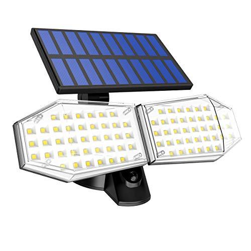 Luz Solar Exterior, T-SUN 78 LED Foco Solar con Sensor de Movimiento Lámpara Solar de Seguridad Impermeable IP65 con 2 Cabezas Ajustable de 360° para Entrada Garaje Patio y Jardín.