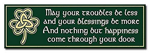 My Word! May Your Troubles Be Less and Your Blessings Be More and Nothing But Happiness Come Through Your Door Decorative Home Décor Wooden Signs, Green