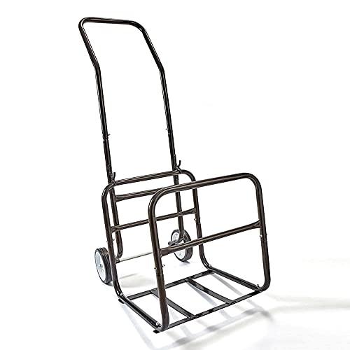 SOLDELA Chariot à Bûches en Métal - Porte bûches Amovible - Chariot à Bois - Diable Transport Bois Chauffage - Pneus en Caoutchouc - Charge Maximale 50 kg