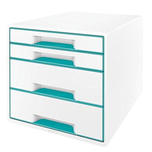 Leitz 52132051 WOW CUBE Schubladenbox, 4 Schubladen, eisblau metallic