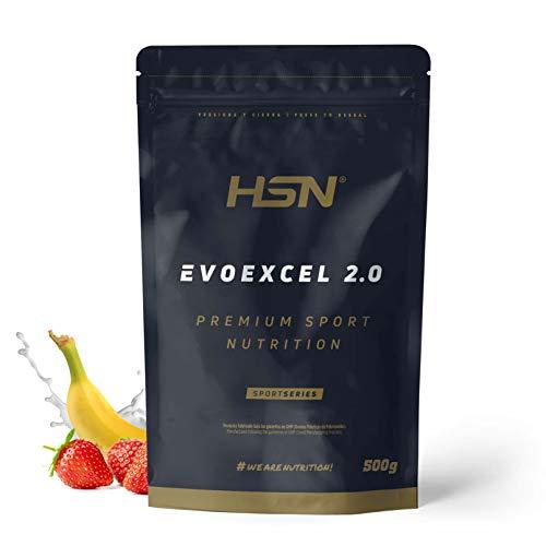 Whey Protein Isolate + Concentrate de HSN Evoexcel 2.0 | Batido de Proteínas con Enzimas Digestivas + Probióticos + Calostro | Vegetariano, Sabor Fresa Banana, 500g